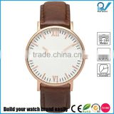 Unisex polished stainless steel case in rose gold italian genuine leather strap vintage watch