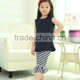 Wholesale baby girls boutique outfits kids cotton clothing black tank top+stripe pant fashion style 2 PCS baby girls summer suit