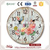 Ancient style vibrant garden flowers and birds pattern decoration wall clock for supermarket