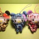 Plush fluffy Hello Kitty Leopard Panda Phone Car Strap Keychain