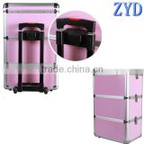 ZYD-HZ0724 aluminum trolley rolling cosmetic vanity box makeup organizer pink beauty trolley case