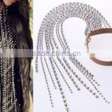 amazing necklace leather choker long glass crystal tassel necklace N6010
