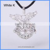 Copper Platinum Plated Hollow Angel Wings Cage Harmony Chime Box Pendant For Women Pregnancy Necklace BAC-M020