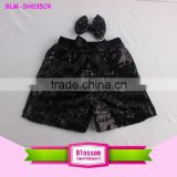 2016 Summer wear baby kids black sequin shorts new fashion shiny girls pom pom shorts