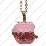 FN3335 Apple design sounded ball necklace, pink enamel cage pendants with rhinestone, musical bola necklace