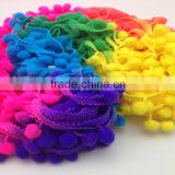 wenzhou kaiyuan space dyeing multicolor pompon fringe colorful pom pom lace