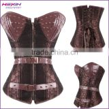 Zipper Front Brown Leather Steel Boned Brocade Vintage Style Steampunk Bustiers Corset
