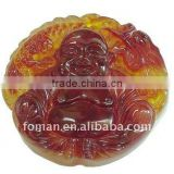 50mm brown jade carving smiling stone buddha