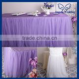 SK005L New arrival puffy banquet bridal 6ft rectangle tutu Custom made ruffled lilac tulle table skirt