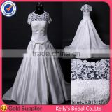pictures of beautiful and simple satin a-line with detachable lace short sleeve jacket wedding dress xxl size
