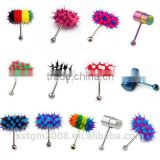 New Arrival Multi Color Silicone Stainless Steel Vibrating Tongue Bar Ring Stud Jewelry Body Piercing