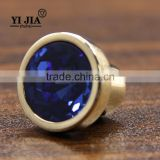 Gold Zinc Alloy Light Blue Cabinet Glass Crystal Knobs