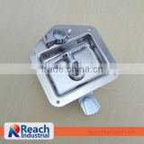 Truck or Trailer Flush Mount Polished Stainless Steel Key-Locking Recessed T Handle Metal ToolBox Lock