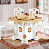 Chinese style dining room furniture, solid wood white and gold color marble top lazy susan diing table