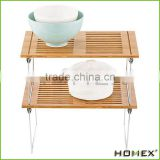 Bamboo stackable storage rack shelf Homex-BSCI