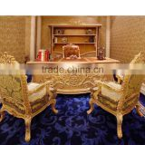 Bisini Office Furniture Executive Desk Set,Antique Hand Carved Office Desk Furniture, Office Desk,Chair and Bookcase,(BF08-0260)
