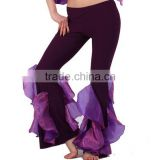 Charming Purple Yoga and Sportwear Ruffled Pands For Lady and Girl