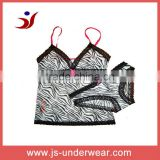 wholesales price fashion printed ladies camisole underwear set