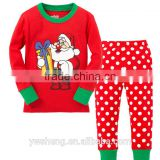 Wholesale Children's Boutique Clothing Santa Claus Costume cotton Striped Pajamas set