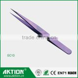 beauty field eyelash extension tweezers with sharp straight/curved point China factory SC-10
