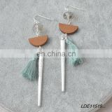 Bohemian silver bar pendant dangle earring wood fan light green tassel glass beads earrings