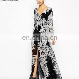 New Style Black Flower Printing Deep V Backless Dress Ladies Western Long Dress Designs Sexy Dress