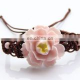 Summer Bohemia Handmade Woven Ceramic Jewelry Women Hot-selling Fashion Bracelet 2017 Wax Rope Chain with Flower