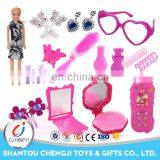Hot sell make up set toys with doll plastic beauty girl cosmetics
