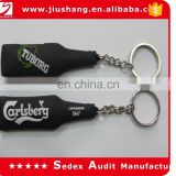 custom black color soft rubber pvc keychains with bottle shape