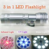 3 In 1 LED UV Laser Pointer Torchlight LED Torch Flashlight Inspection Light