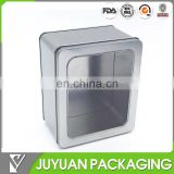 Natural plain silver metal container box with PET window