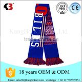 2016 knitted football scarf pattern blue white football scarf double knit fans scarf pattern
