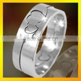 cheap simple double heart finger ring for couple