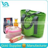 Large Capacity Cheap Polyester Picnic Bag Travel Aluminum Foil Picnic Bag With Bottle Holder