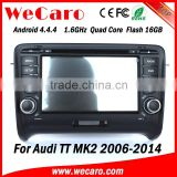 Top Version Android 4.4.4 navigation system in dash car radio gps for audi tt mk2 mirror link 1080p 2006-2014