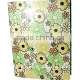 Flower Printed Art Paper Wrapping Ring Binder Desktop File Folder for Office Stationery Cardboard A4 or FC Size