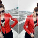 popular style woman jacket 2014 apparel high fashion leather jacket wholesale in alibaba china J0896069-1
