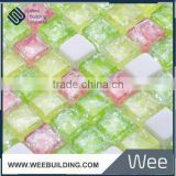 crystal glass mosaic mix stone tile ,ice crack series,green color