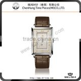 Square Men's japan mov't 316l stainless steel watch genuine leather band new design watch wholesale