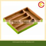 Creative Kitchen Green Stained Bamboo Cutlery Tray