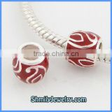 Wholesale European Sterling Silver Red Enamel Beads BES43A