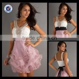New Design Wholesale Custom Made Mini White Pink Organza Prom Dress With Black Belt Homecoming Dress H0071