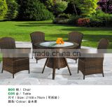 Rattan Wicker 3 Pieces Set of 2 Chairs W/cushions and Round Coffee Table W/glass Colonial (Golden Yellow) Color