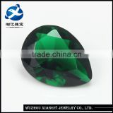 grade aaaaa loose gems 15*18MM pear shaped grass green gemstone beads, Loose Synthetic glass gemstone