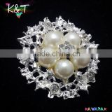 2015 New design! Elegant Crystal pearl Bling Rhinestone brooches