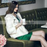 Regular women whtie natural mink fur coat with hood