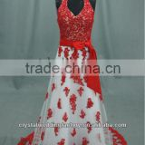 Sexy V-neckline halter beaded A-line appliqued red lace wedding gowns CWFaw5036