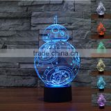 3D illusion Bulbing Night 7color Touch Switch Desk Lamp LED Light