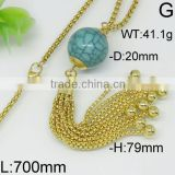 Enchanting wooden green beads tassel gold plating necklace