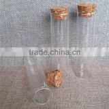 70ml round shaped clear brosilicate glass tube empty jar with wooden cork